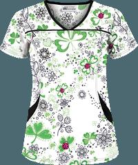 aa00f175502 UA Ladies and Clovers White V-Neck Print Scrub Top | Scrubs ...