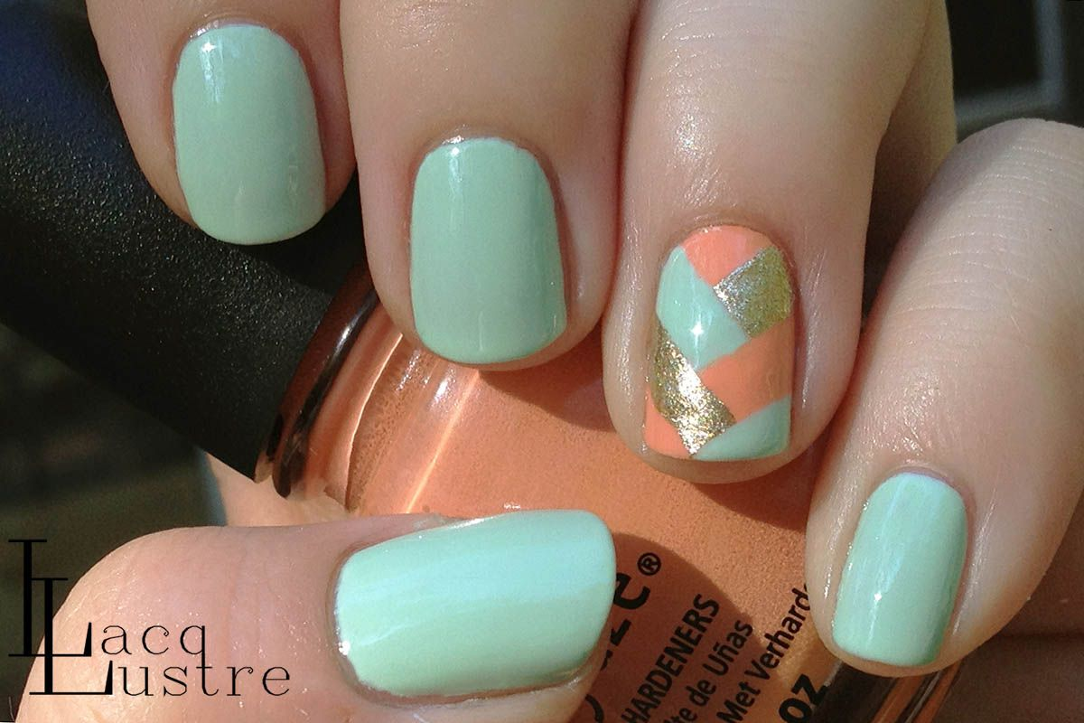 Lacqlustre Mint Coral And Gold Herringbone Nail Art Nail Art