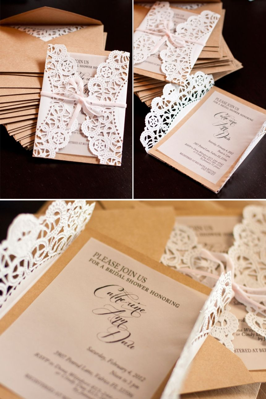 doily wrapped invites on navy blue paper