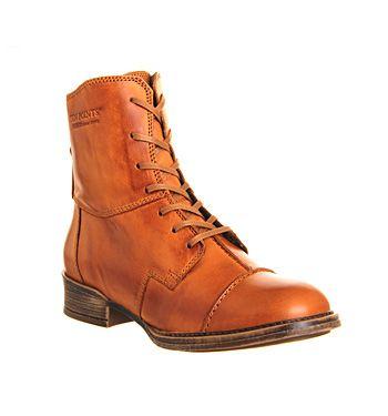 Ten Points Pandora Lace Boot Cognac Leather - Ankle Boots
