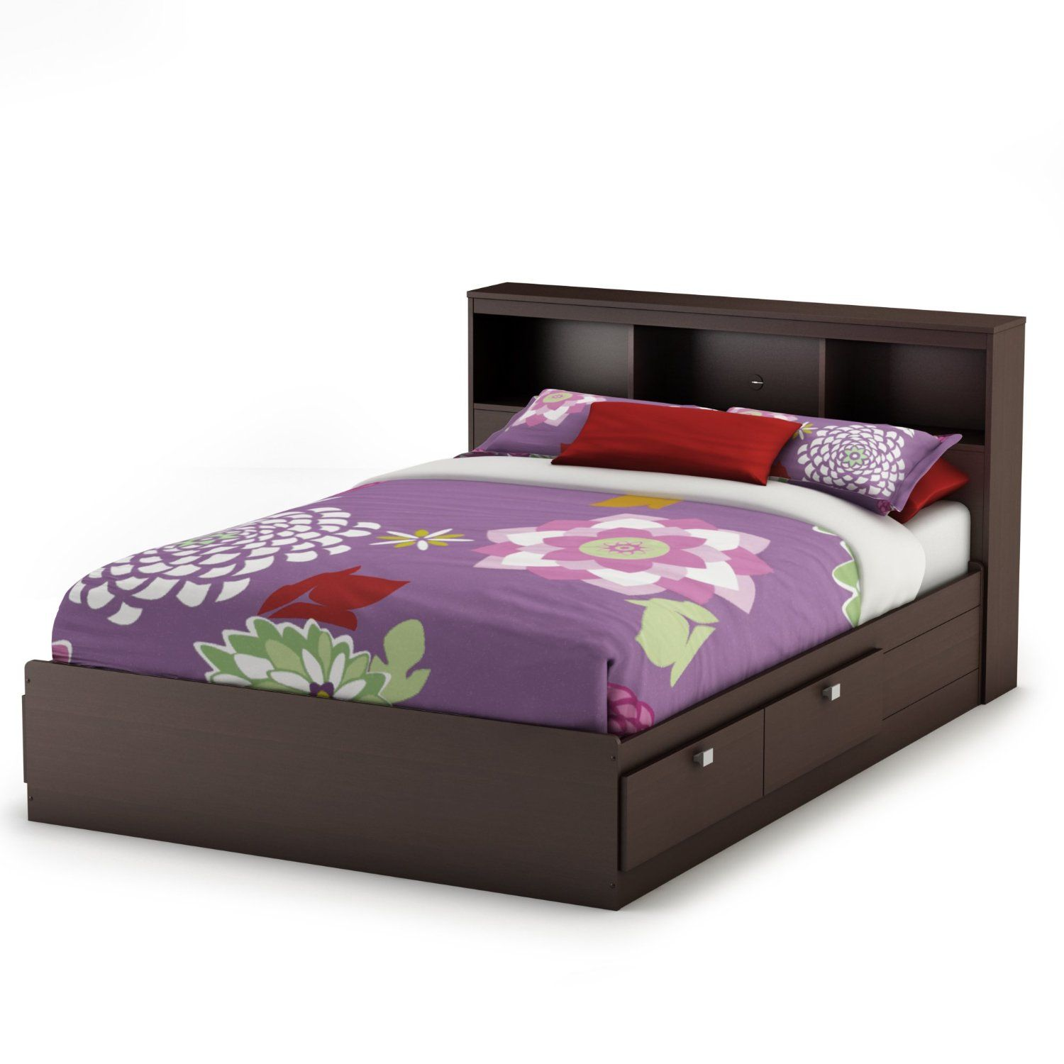 Amazon.com: South Shore Furniture Cakao Collection Full Mates Bed, Chocolate: Furniture & Decor