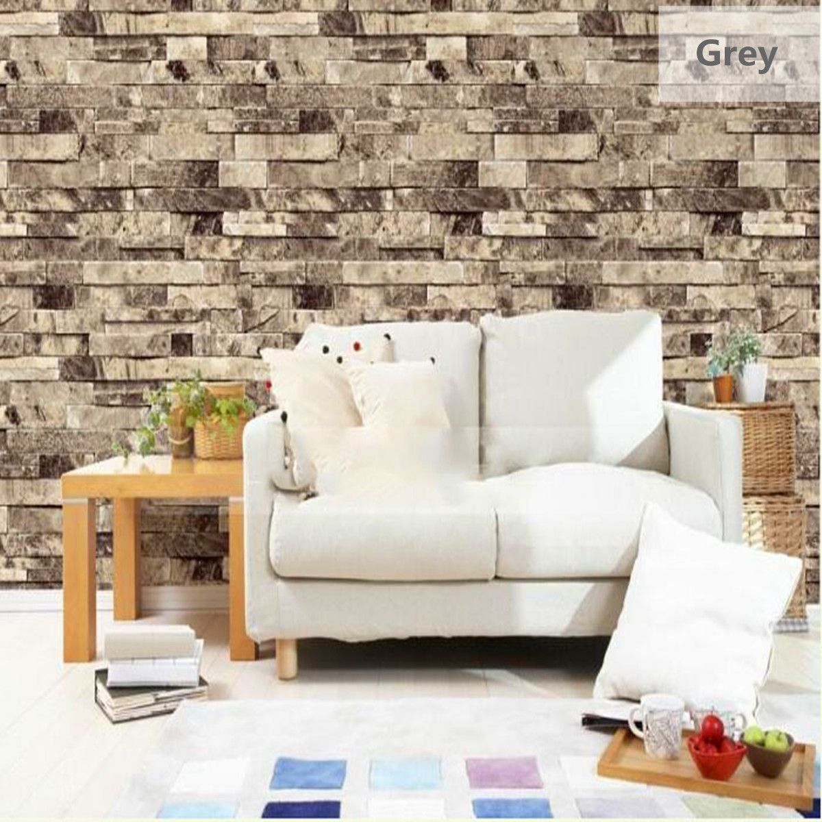 Modern Vintage Natural Embossed Stack Stone Brick Tile