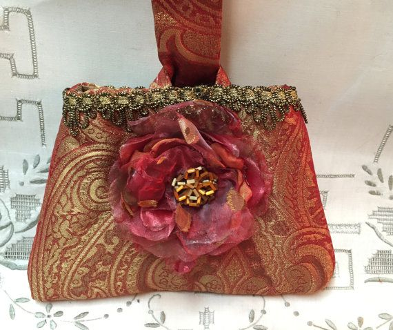 Evening Bag  Formal Silk Wrist Bag  Rosy by RescuedOfferings http://etsy.me/1QyklnX #etsyspecialT #integrityTT #etsymntt