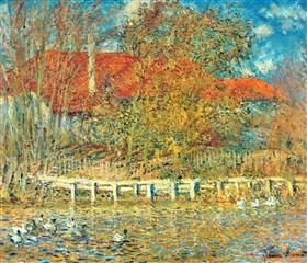 The Pond with Ducks in Autumn - Claude Monet