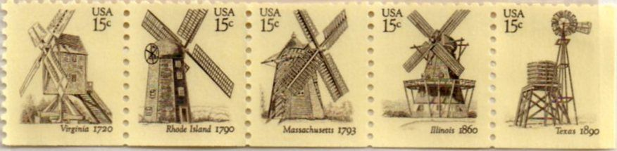 Us Postage Stamps 15 Cents Windmills Series Virginia Rhode Island Massachusetts Illinois