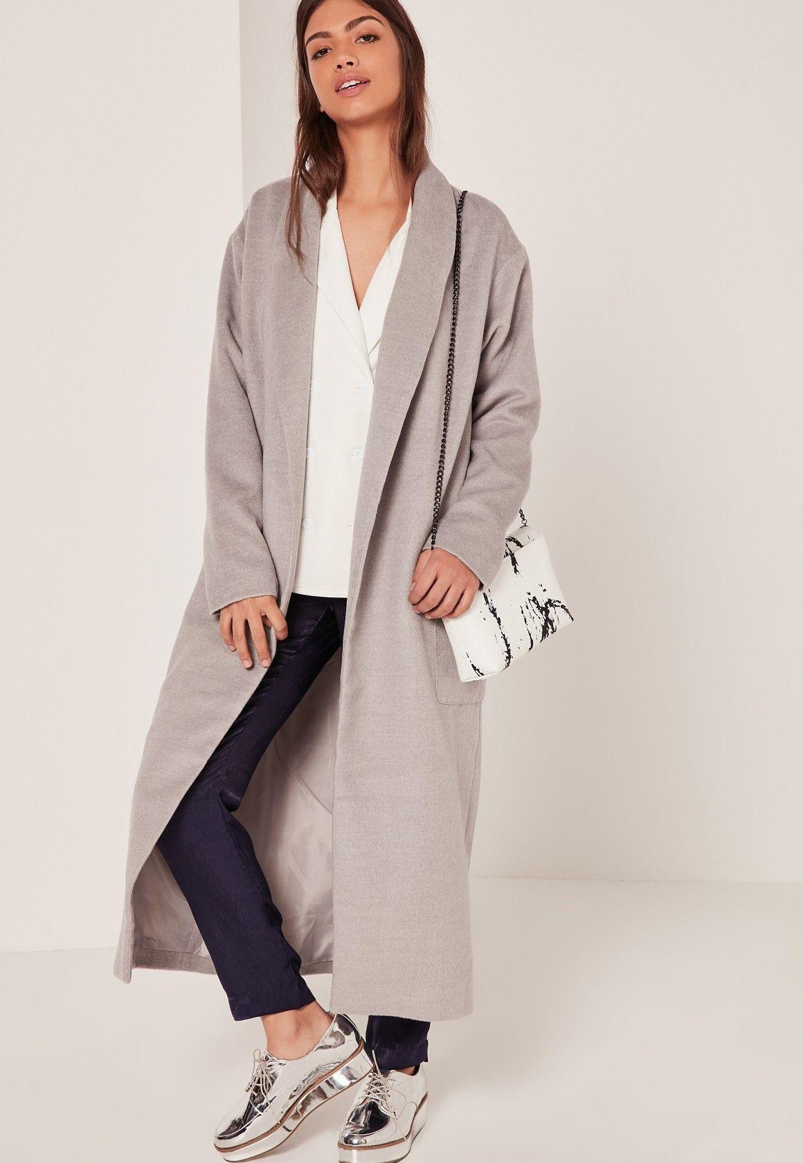 Textured Shawl Collar Maxi Coat Grey - Missguided | Coat / Jacket ...