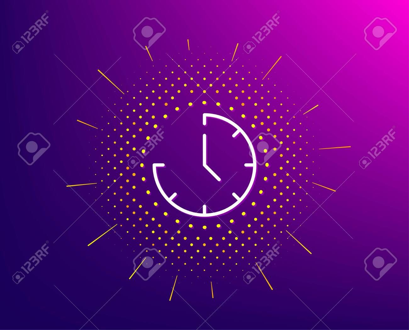 Time management line icon. Halftone pattern. Clock sign