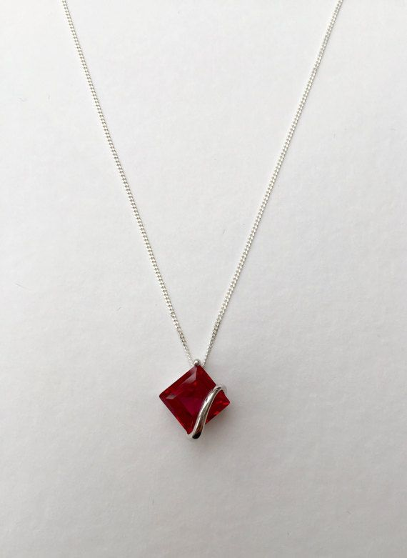 Ladies Art Deco Design Sterling 925 Solid Silver Ruby and White Sapphire Pendant