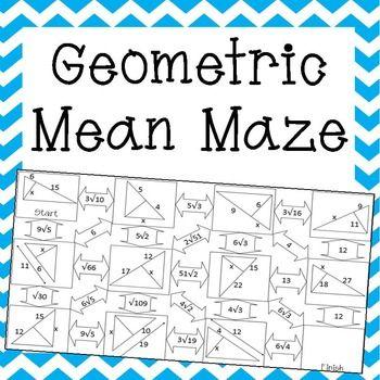 Geometric Mean Maze | Secondary Math | Geometric mean ...