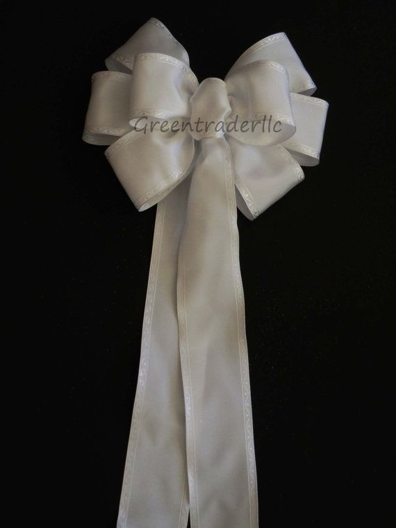 6 Traditional White Wedding Pew Bows Shabby Chic Chruch Pew Bows ...