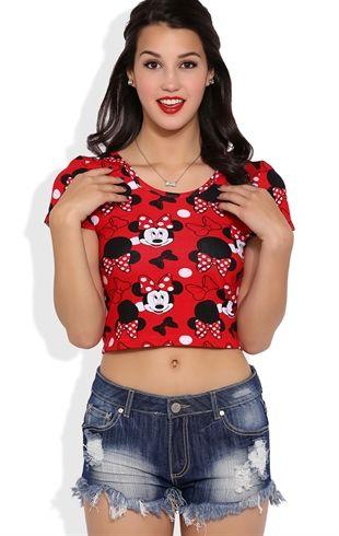 513903082137d4 Short Sleeve Minnie Mouse Crop Top