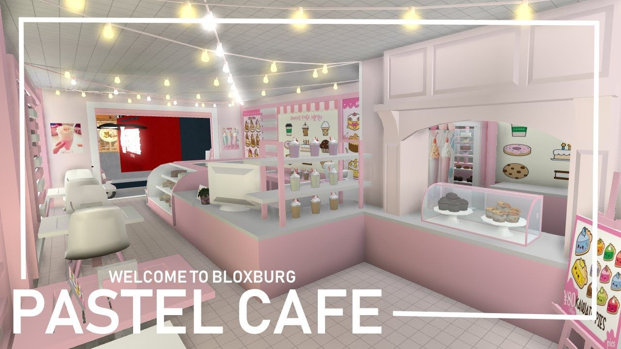Bloxburg Pastel Pink Cafe Speedbuild Youtube Cafe House