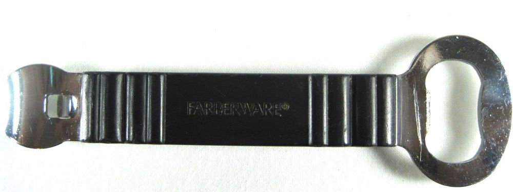 Farberware can opener cap lift chrome black plastic qqq