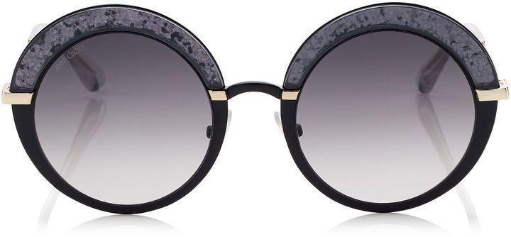 30a935e5d982 GOTHA S Black Gold and Glitter Round Framed Sunglasses