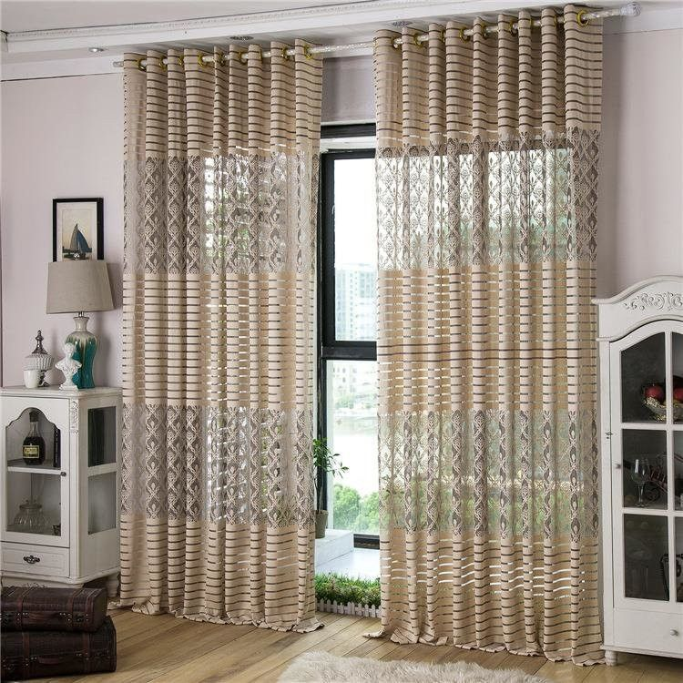 ... 2 Panel Jacquard Lace Punching Sheer Tulle Curtains Hollow Out ...