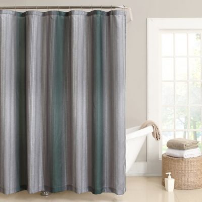 Effortlessly Luxurious The Stafford Shower Curtain Is Elegantly Styled With Deep Bands Of Color Enhanced By Subtle Striations