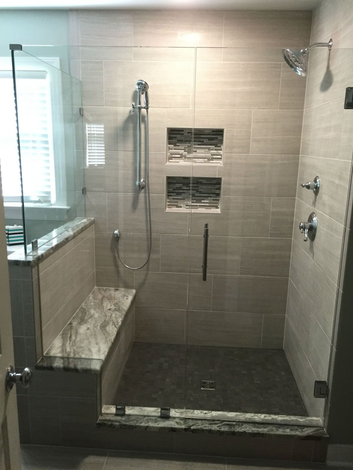This Frameless Corner Shower Door Enclosure Features A Double Notched Glass Panel To Fit Over The Ben Dream Bathroom Shower Shower Doors Bathroom Shower Panels
