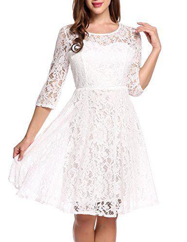 56e399777d Beyove Women Vintage Floral Lace 23 Sleeve Cocktail Evening Party Dress  White XXL     Click for Special Deals  VintageDresses