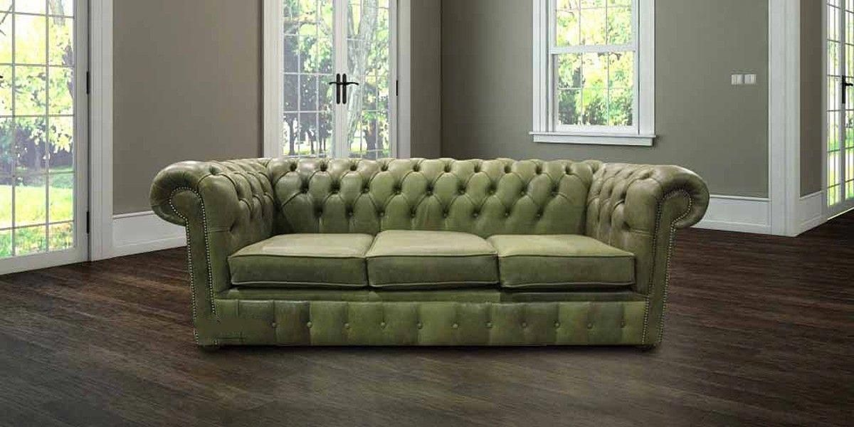 This Chesterfield Selvaggio Sage Green Sofa Has Perfect Low Back