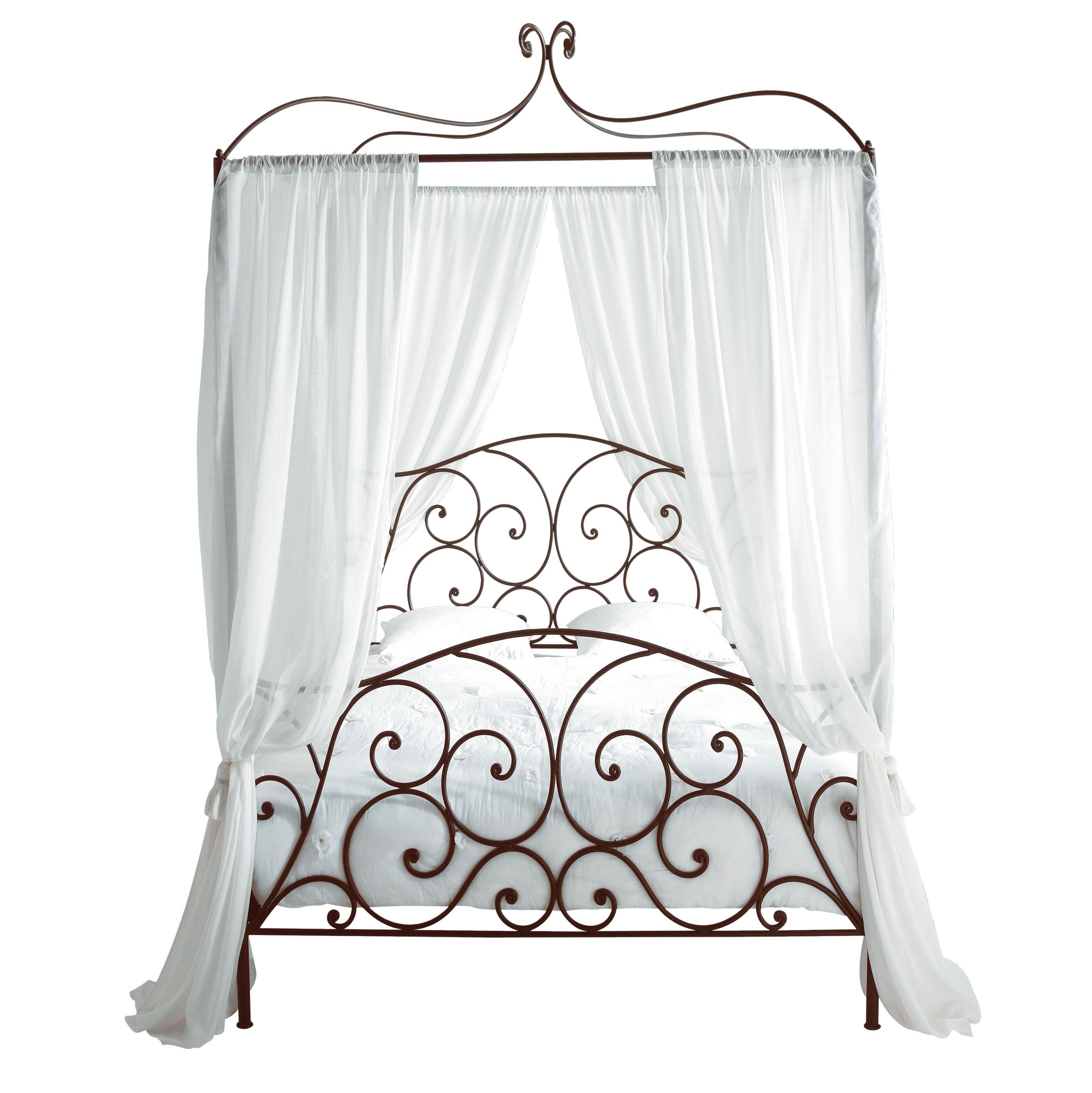 Lit à Baldaquin X En Métal Marron Metal Double Bed Double - Lit baldaquin 140