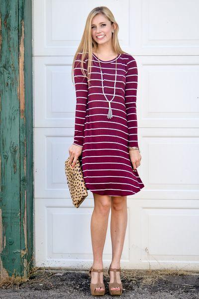 1941d715c28 Berry Stripe Trapeze Dress - My Sisters Closet