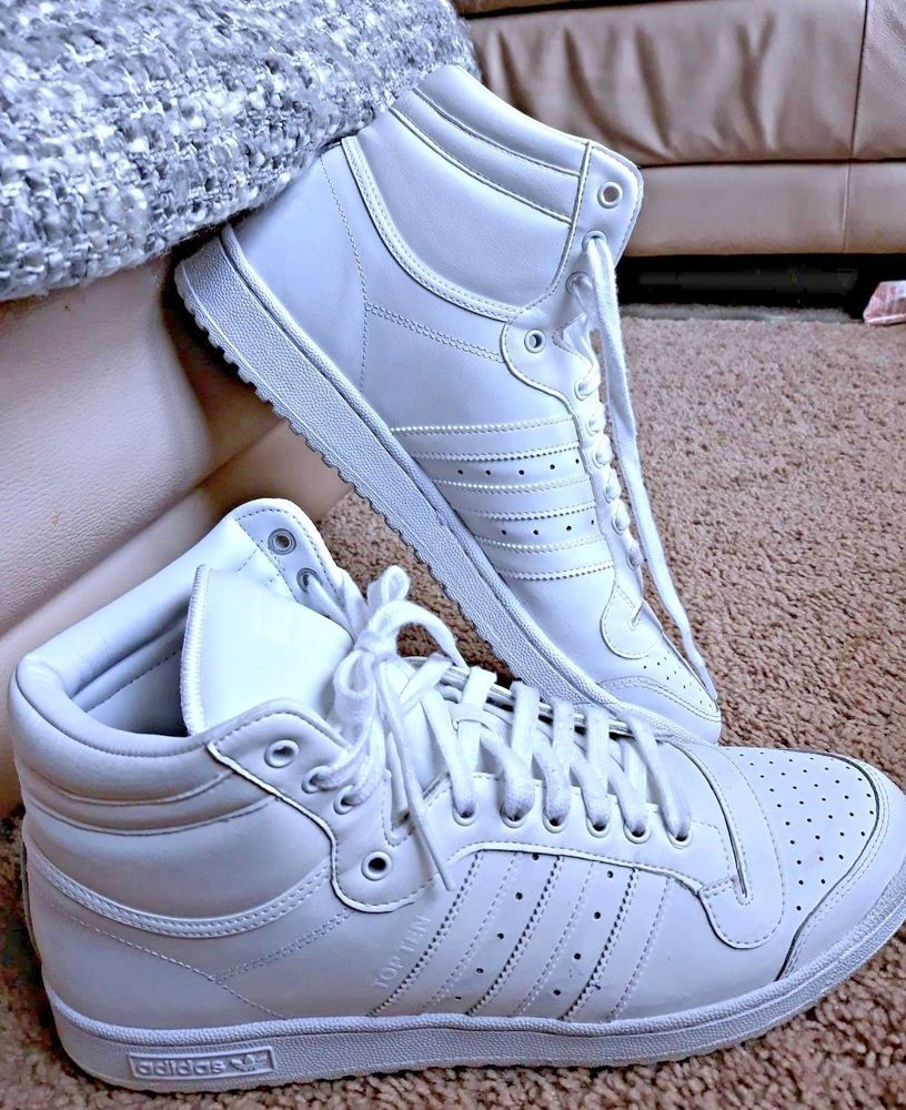 Adidas Top Ten Hi High Tops Shoes classic All White Mens