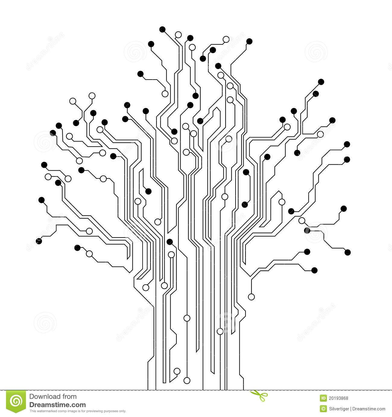 printed circuit board tree stock vector  illustration of