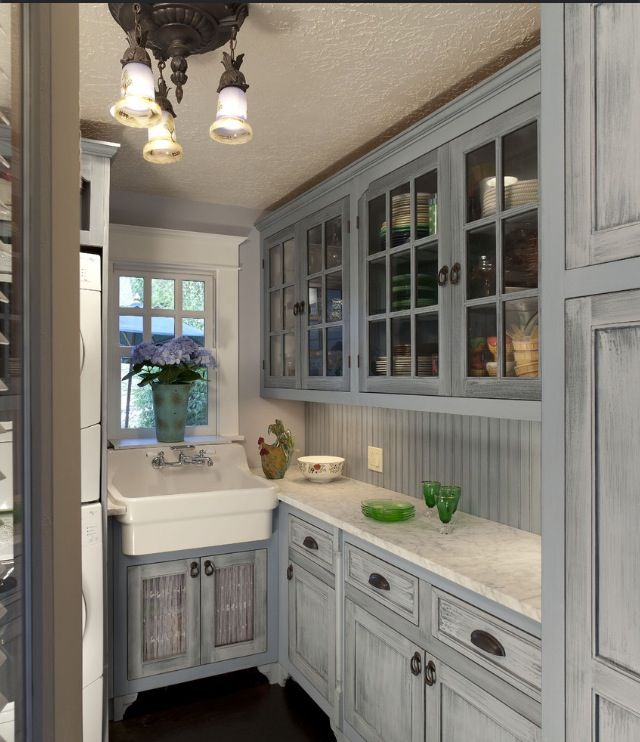 Love the gray... Not the sink, or the light. Just the gray distressed cabinets | Once Upon A ...
