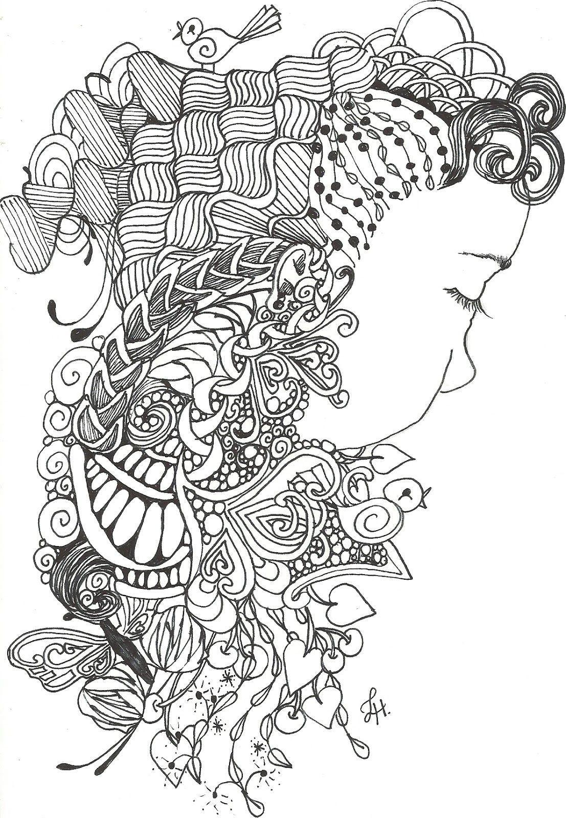 Another Zentangle Inspired Art And A Like Me Freebie