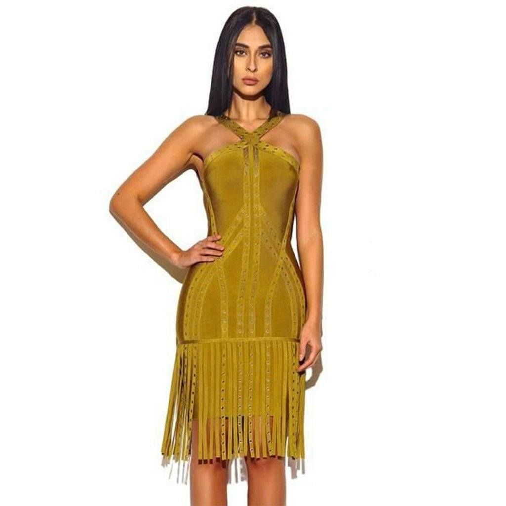 Green dress night out  Caly u Kaana Eyelet Detail Celeb Tassel Bodycon Dress  Dress