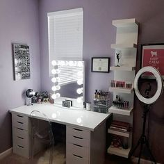 Back at it again with the #vanitygoals!  Classic setup from @makemeup_15 featuring the #ImpressionsVanityGlowXL with IKEA Linnmon table top, Alex Drawers, and Lack shelves. #vanities
