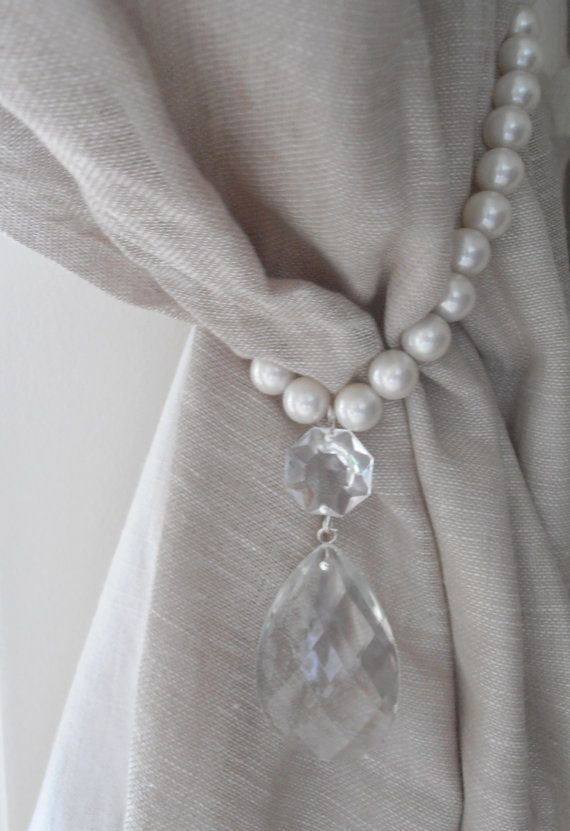 Decorative Curtains For Living Room: SET OF 2 Decorative Curtain Tiebacks Faux Pearls, Vintage