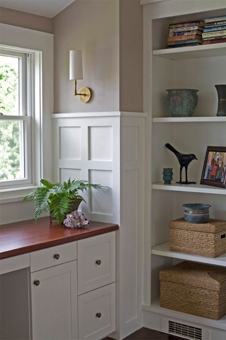 Chair Rail Shelving Part - 19: Coastal Home - Seaside Home - Built In Desk - Study - Office - Built In  Shelves - High Chair Rail With Recessed Wall Panels - Brass Single Arm  Sconce With ...
