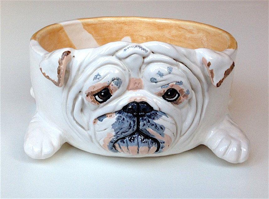 English Bulldog Ceramic Dog Bowl Personalized Dog Bowl Petbowl Dogbowl Bulldog Breed Portrait Personalized Dog Bowls Custom Dog Bowls Ceramic Dog Bowl