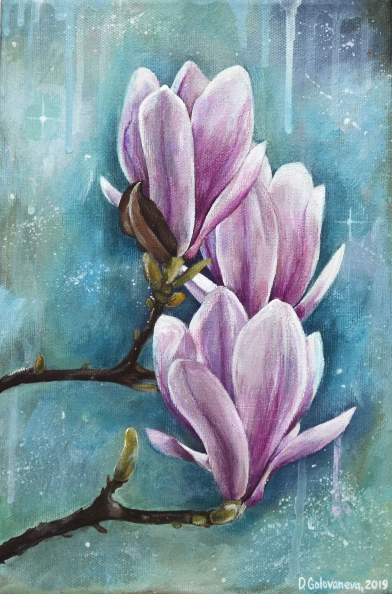 Magnolia Painting Acrylic Painting Flower Painting Original Etsy Acrylic Painting Flowers Flower Painting Original Flower Painting Canvas Abstract