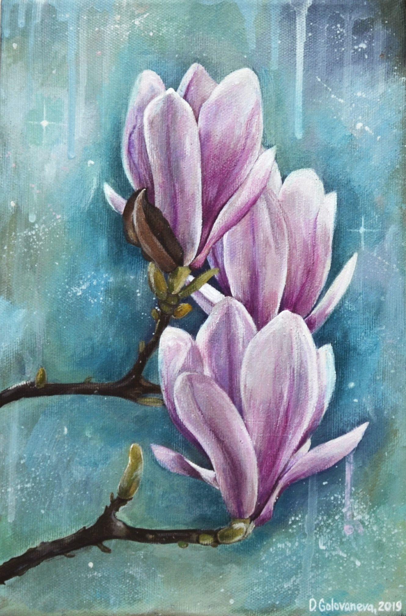 Acrylic Painting Flower Painting Magnolia Painting Magnolia Art