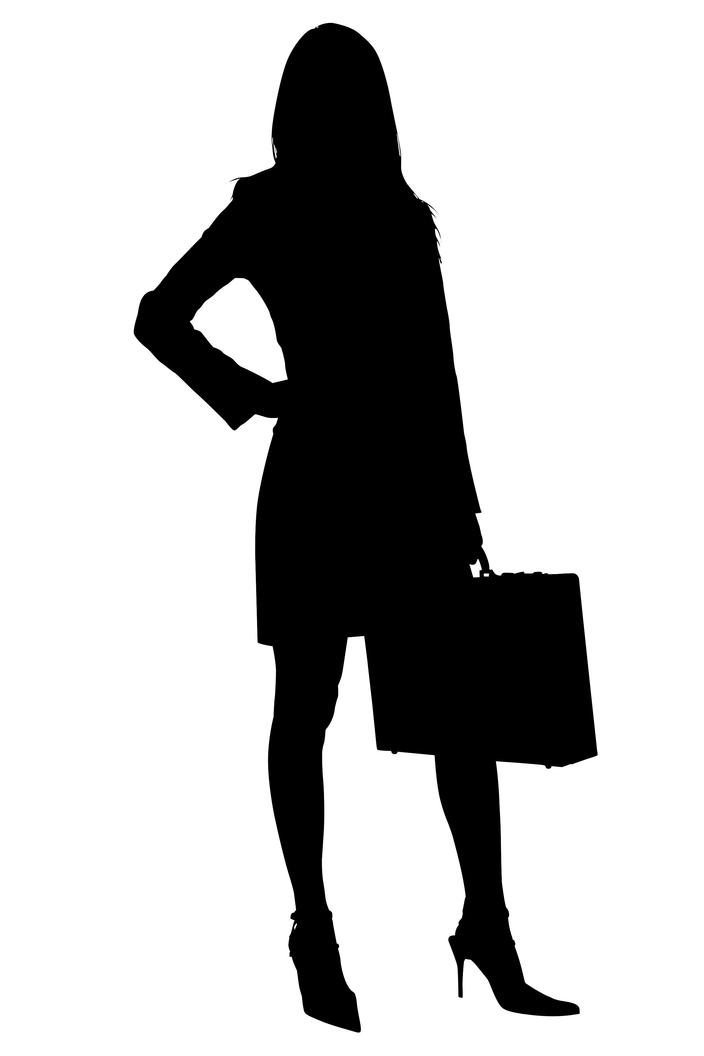 hight resolution of silhouette with clipping path of business woman with briefcase