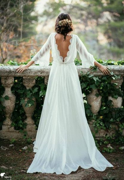 Discount Sexy Lace 3 4 Long Sleeve Backless Bohemian Wedding