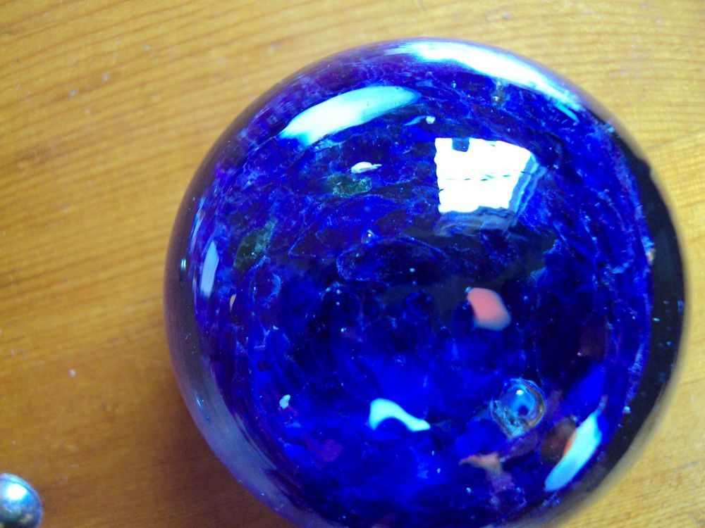 Art Glass Paperweight Cobalt Blue, colored specks. No identifying marks