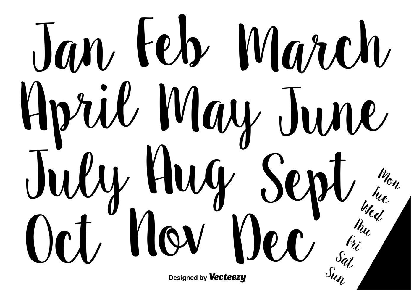 Hand Drawn Calligraphic Vector Names Of Months And Weeks