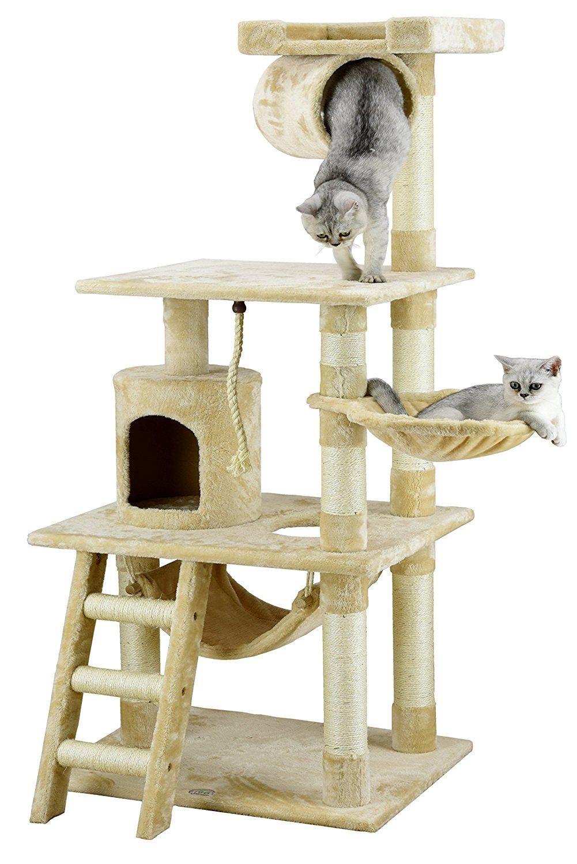 Amazon com go pet club 62 cat tree condo furniture beige color pet supplies