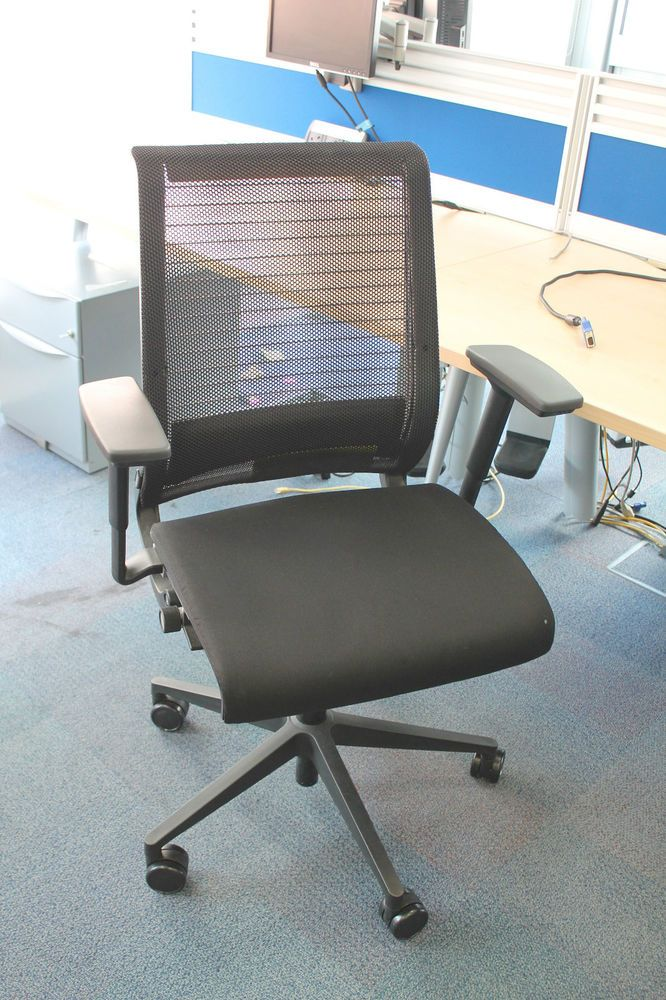 steelcase think office chair. used steelcase think 3d task chair licorice mesh back office chairs