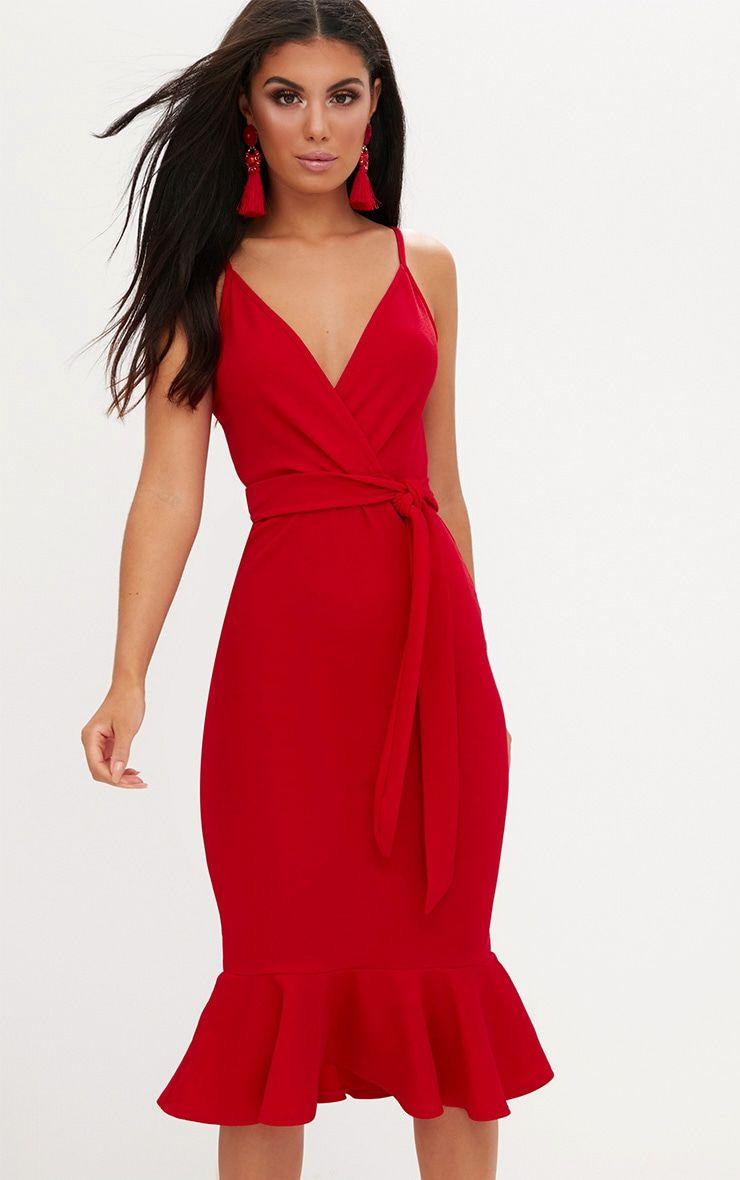 Robe Sirene Midi Rouge A Bretelles Nouee A La Taille Fishtail Midi Dress Red Midi Dress Red Wedding Guest Dresses [ jpg ]