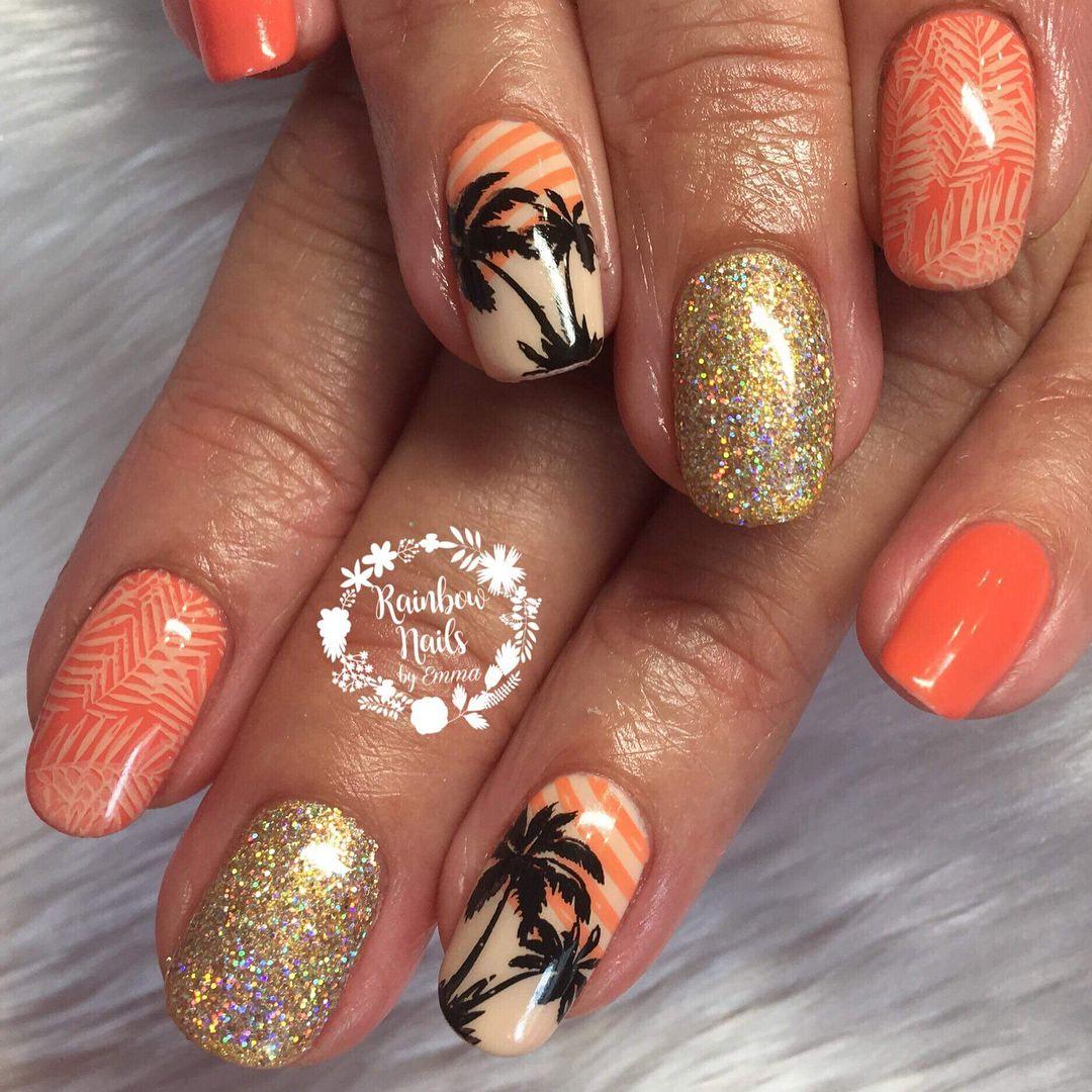 Summer Orange For Amy J Rainbow Nails Rainbow Nail Salon Summer Nails