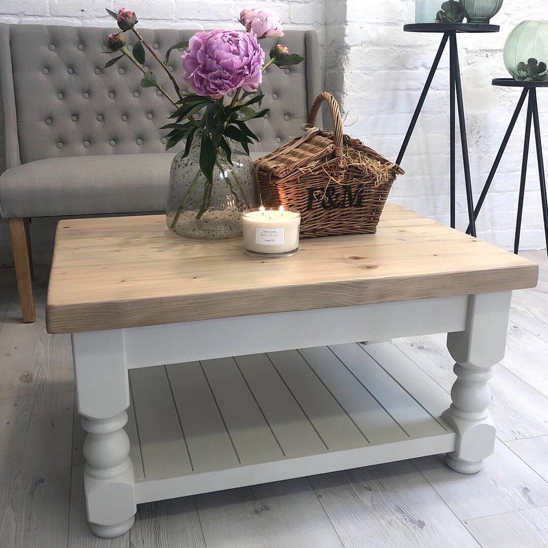 Rustic Coffee Table With Thick Reclaimed Wood Top And Lower Shelf Coffee Table Coffee Table Wood Rustic Coffee Tables [ 1080 x 1080 Pixel ]