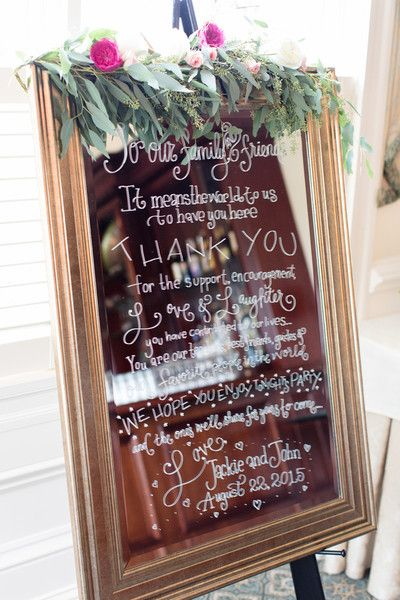 Mirror with hand lettering as a thank you sign for wedding guests - beautiful! {shoreshotz photography}
