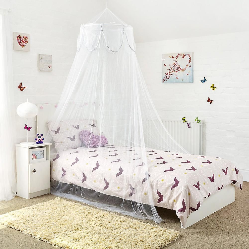 princess white single bed canopy with decorative silver binding