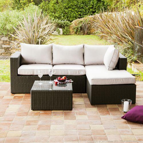 Canapé d\'angle de jardin en résine tressée et table basse Coséo ...
