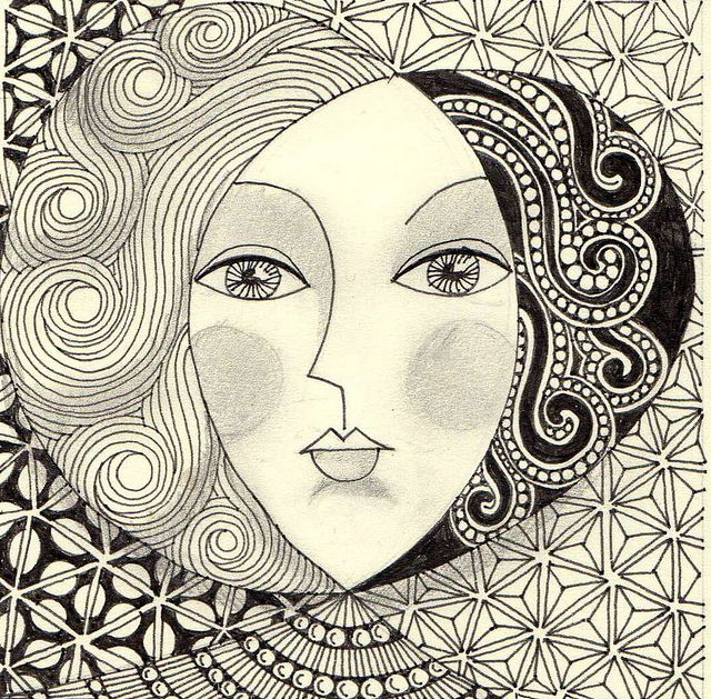 String 4225 zentangle face and doodles for Doodle art faces