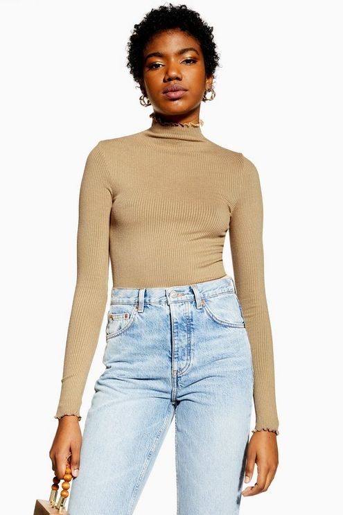 f887b681e0 Womens Tall Lettuce Ribbed Funnel Top - Stone Topshop Tall, Light Wash  Jeans, Tall